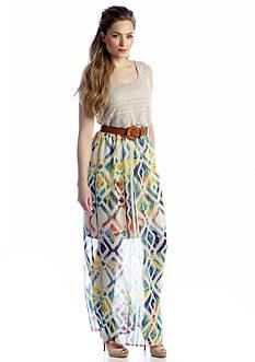 Luxology™ Crochet Mixed Belted Maxi Dress