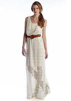 Luxology™ Crochet Belted Maxi Dress