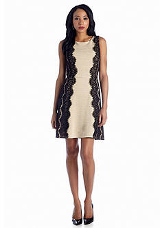 Luxology™ Lace Trim Fit-and-Flare Dress
