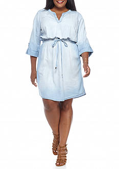 Luxology™ Plus Size Chambray Drawstring Shirt Dress