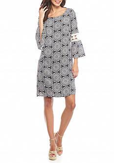 Luxology™ Printed Bell-Sleeve Shift Dress
