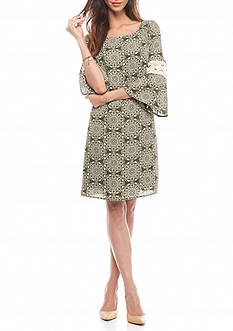 Luxology™ Printed Bell-Sleeve Shift Dress