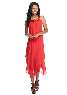 Luxology™ Beaded-Neck Hankie Hem Halter Dress