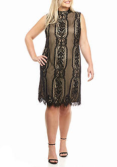 Luxology™ Plus Size Lace Trapeze Dress