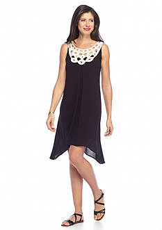 Luxology™ Crochet Neck Hanky Hem Dress
