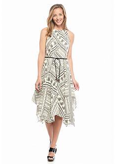 Luxology™ Printed Hanky Hem Dress