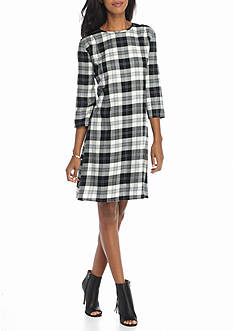 Luxology™ Plaid Trapeze Dress