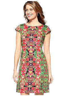 Madison Leigh Cap-Sleeved Floral Printed Sheath Dress