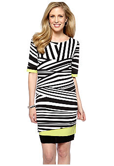 Madison Leigh Elbow-Sleeved Printed Dress