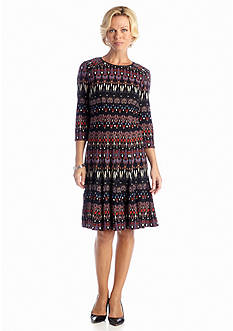 Madison Leigh Printed Fit and Flare Dress