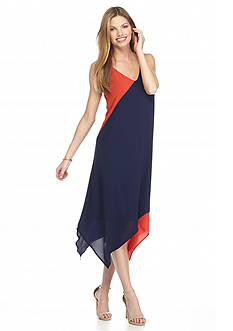 Madison Leigh Colorblock Hankie Hem Dress