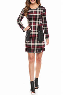 Madison Leigh Plaid Shift Dress with Faux Leather Pockets