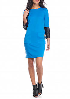 Madison Leigh Ponte Shift Dress with Faux Leather Sleeve