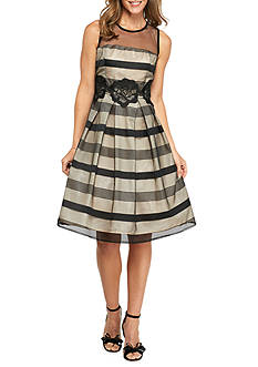 Madison Leigh Striped Mesh Embroidered Overlay Fit and Flare Dress