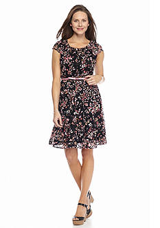 Madison Leigh Floral Lace Belted Fit and Flare Dress