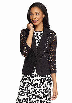 Madison Leigh Three-Quarter Sleeve Eyelet Jacket