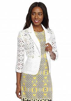 Madison Leigh Three-Quarter Sleeve Eyelet Jacket