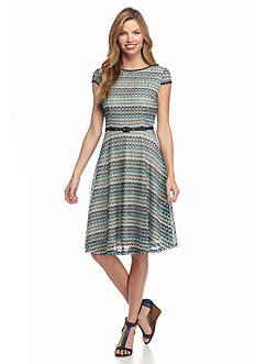 Madison Leigh Crochet Belted Fit and Flare Dress