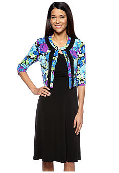 Madison Leigh Petite Printed Jacket Dress