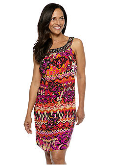 Madison Leigh Petite Sleeveless Printed Shift Dress