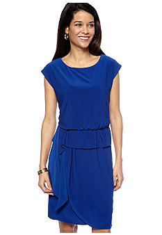 Madison Leigh Petite Cap-Sleeved Blouson Dress