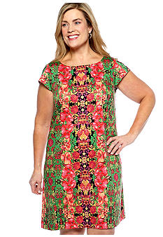 Madison Leigh Plus Size Cap-Sleeved Floral Shift Dress