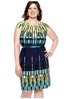 Madison Leigh Plus Size Geo Print Dress