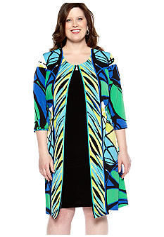 Madison Leigh Plus Size Printed Faux Jacket Dress