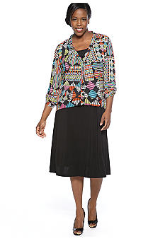 Madison Leigh Plus Size Printed Jacket Dress