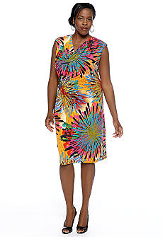 Madison Leigh Plus Size Cap-Sleeved Printed Sheath Dress