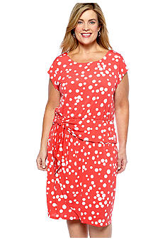 Madison Leigh Plus Size Cap-Sleeved Polka Dot Matte Jersey Dress