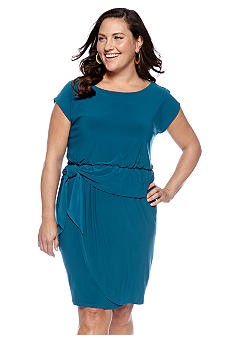 Maggy London Plus Size Blouson Peplum Dress