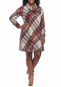 Madison Leigh Plus Size Plaid Shift Dress with Infinity Scarf