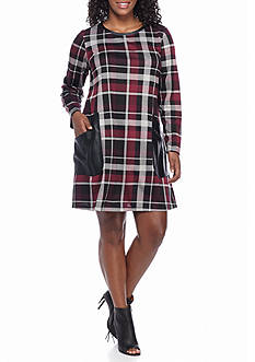 Madison Leigh Plus Size Plaid Shift Dress with Faux Leather Pockets