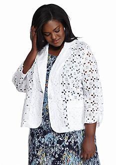 Madison Leigh Plus Size Three-Quarter Sleeve Eyelet Jacket