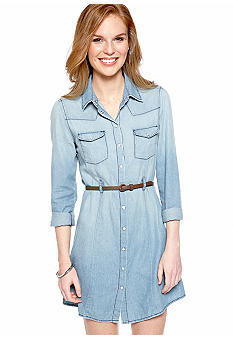 Acclaimed Long-Sleeved Belted Chambray Shirt Dress
