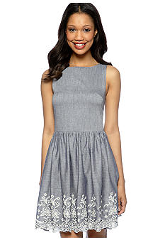 Acclaimed Embroidered Chambray Sundress