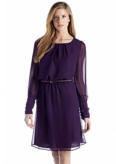 Acclaimed Long Sleeve Blouson Belted Dress