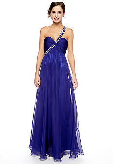 Be by Jay Reynolds One Shoulder Bead and Sequins Gown