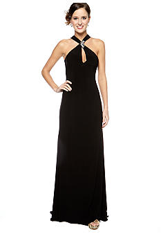 Be by Jay Reynolds Halter Gown with Keyhole Front