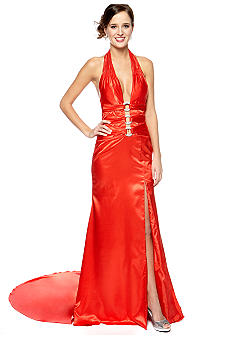 Be by Jay Reynolds Halter Gown with Back Train
