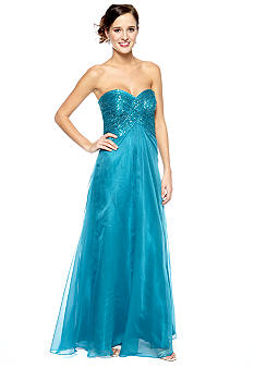Be by Jay Reynolds Strapless Sequins Bodice Gown