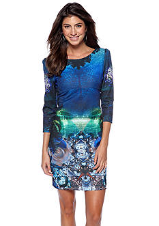 Betsey Johnson Three-Quarter Sleeve Printed Bandage Dress