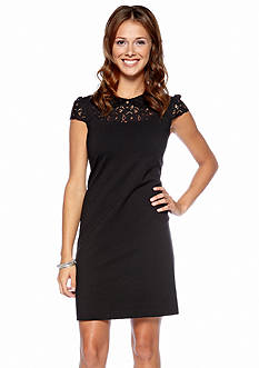 Betsey Johnson Cap-Sleeved Shift Dress with Lace