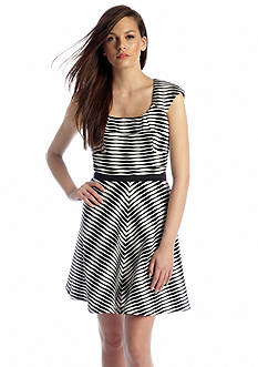 Betsey Johnson Cap Sleeve Striped Fit and Flare Dress