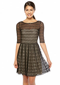 Elbow-Sleeved Allover Lace Fit and Flare Dress