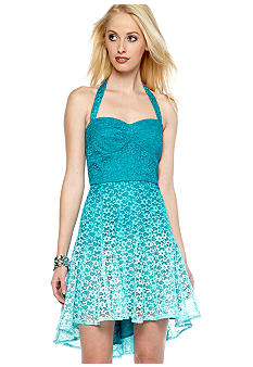 Betsey Johnson Halter Fit and Flare Lace Dress