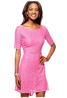 Betsey Johnson Elbow Sleeve Lace Hi-Lo Dress