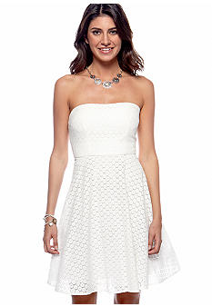 Betsey Johnson Strapless Eyelet Fit and Flare Dress