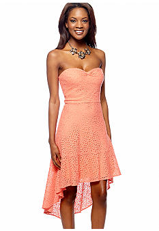 Betsey Johnson Strapless Eyelet Hi-Lo Dress